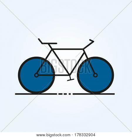 Vector illustration of a bicycle on a blue background outline.