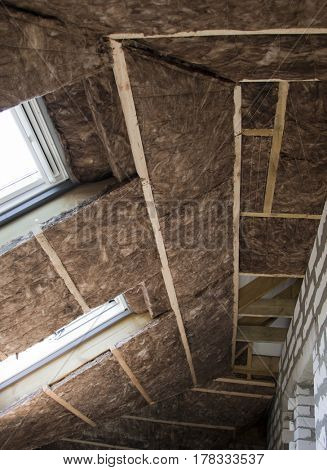 Thermal Insulation Glass Wool in the attic