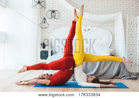 Merry sports activities in the morning young couple.