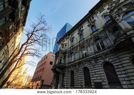 Old and new buildings in Lodz. Poland Europe.