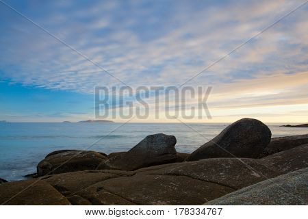 Sunset on empty Lanzada Beach Galicia Spain