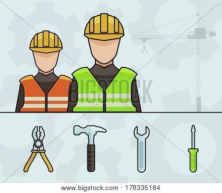 Two Industrial Workers with Cranes and Tools - Vector illustration Design