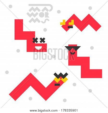 Set of funny mad worms isolated on white background. Vector illustration.