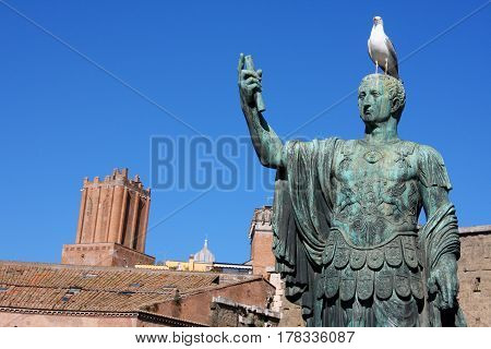 Architectural detail of the statue representing the Roman emperor in Rome, Italy