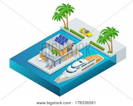 Luxury tropical hotel resort with palm tree, cabriolet, yacht and sea. Travel summer trip destination and beach resort hotel square concept for infographics collection. Vector illustration.