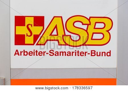 PEINE / GERMANY - MARCH 20, 2017: logo from german aid agency ASB ( Arbeiter Samariter Bund )