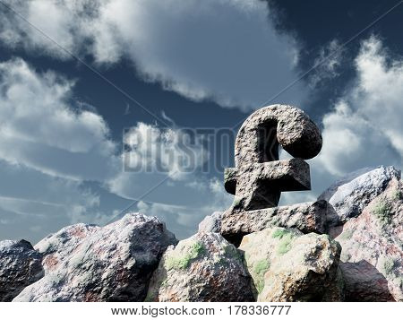 stone pound sterling symbol under cloudy blue sky - 3d illustration