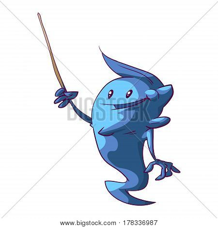 Colorful vectort illustration of a cuite genie kid with a pointer presenting