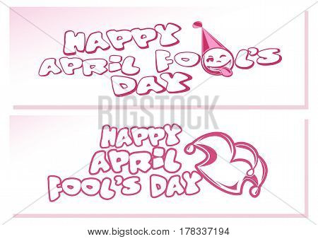 Happy April Fools Day. Banners set. Vector illustration