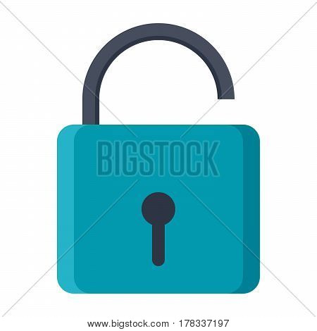 Open lock or unlock icon, vector illustration in flat style