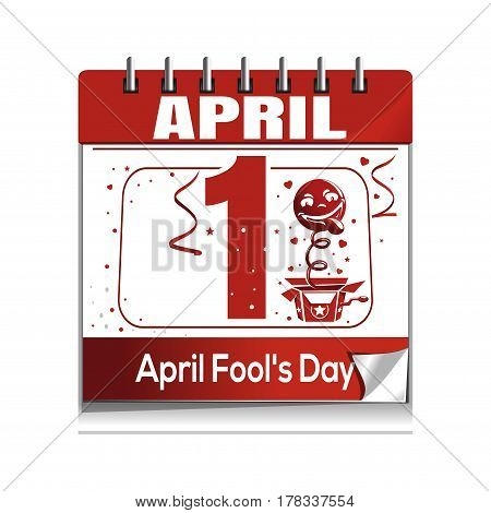 April Fool's Day. Calendar with a festive date. April 1. Vector illustration isolated on white background