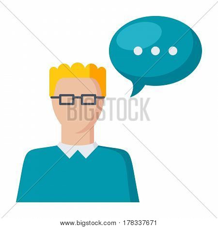 Speech icon, vector illustration in flat style