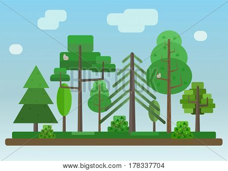 Flat Style Forest on the Blue Gradiented Sky Background