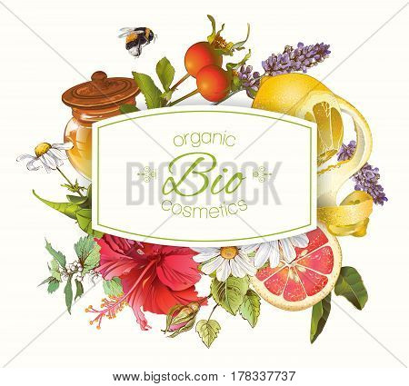 Vector Organic cosmetics banner with honey, hibiscus flower, lemon and rose hip. Design for natural cosmetics, baking, candy and sweets, grocery, health care products. With place for text.