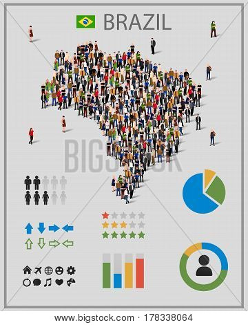 Large group of people in form of Brazil map with infographics elements. Brazil map with chart, statistic and visualization templates. Background for presentation. Vector illustration