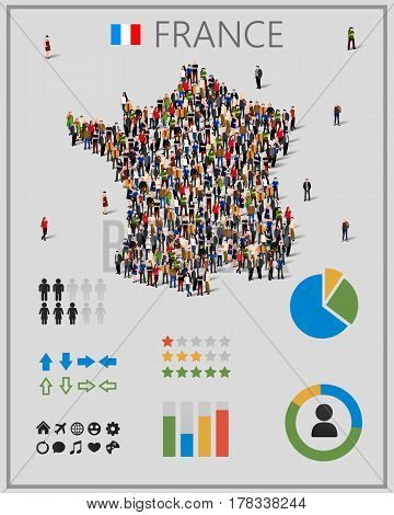 Large group of people in form of France map with infographics elements. France map with chart, statistic and visualization templates. Background for presentation. Vector illustration