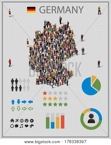 Large group of people in Germany map with infographics elements. Germany map with chart, statistic and visualization templates. Background for presentation. Vector illustration