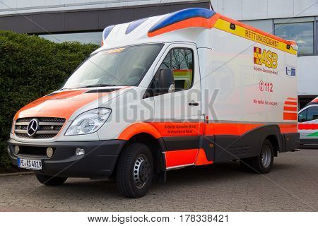 PEINE / GERMANY - MARCH 20 2017: german ambulance vehicle stands on hospital at peine / germany