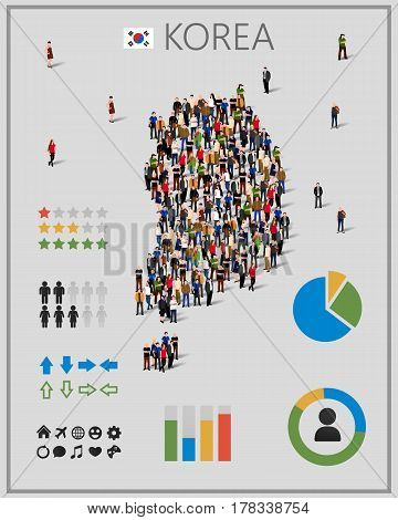 Large group of people in form of South Korea map with infographics elements. South Korea map with chart, statistic and visualization templates. Background for presentation. Vector illustration