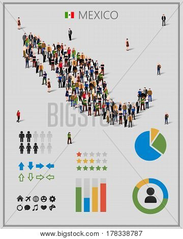 Large group of people in form of Mexico map with infographics elements. Mexico map with chart, statistic and visualization templates. Background for presentation. Vector illustration