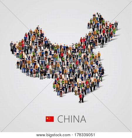 Large group of people in China map form. Population of China or demographics template. Background for presentation. Vector illustration
