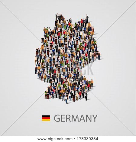 Large group of people in Germany map form. Population of Germany or demographics template. Background for presentation. Vector illustration
