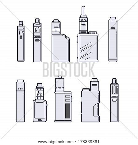 Vaping vector set. Vape devices outline on white background. EPS10