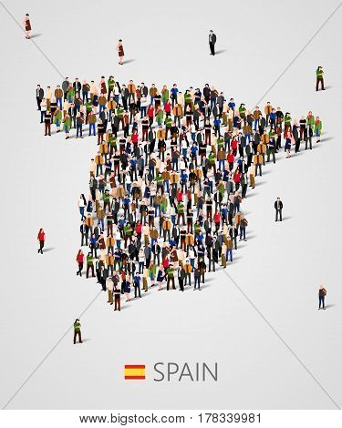 Large group of people in form of Spain map. Population of Spain or demographics template. Background for presentation. Vector illustration