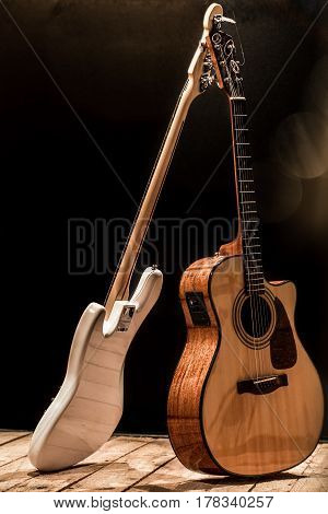 Musical Instruments, Acoustic Guitar And Bass Guitar And Percussion Instruments Drums