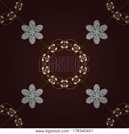 Traditional orient ornament classic vintage background. Seamless pattern on brown background with golden elements. Seamless classic vector golden pattern.