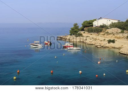 PRIMOSTEN, CROATIA - SEPTEMBER 10, 2016: It is the Dalmatian coast in the early autumn.