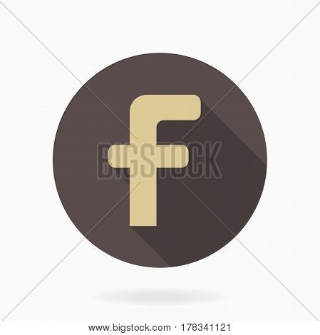Golden letter F in the brown circle. Flat design and long shadow