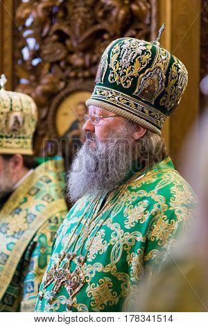 Kiev, Ukraine - 22 March 2017: The Divine Liturgy At The Kiev Holy Presentation Monastery. Metropoli