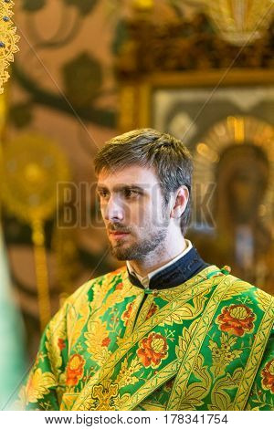 Kiev, Ukraine - 22 March 2017: The Divine Liturgy At The Kiev Holy Presentation Monastery. Deacon In