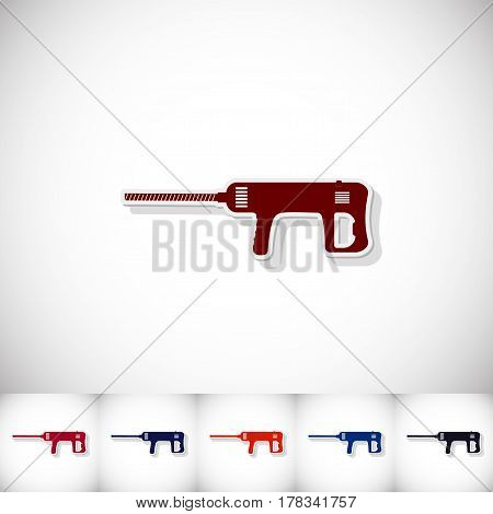 Perforator. Flat sticker with shadow on white background. Vector illustration