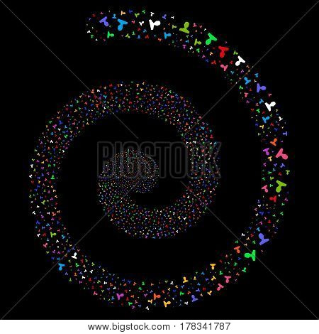 Customer salute concentric spiral. Vector bright multicolored scattered pictographs.
