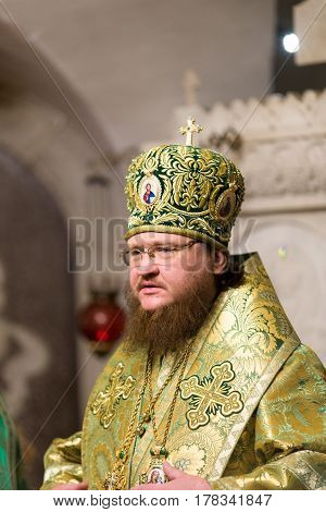 Kiev, Ukraine - 22 March 2017: The Divine Liturgy At The Kiev Holy Presentation Monastery. Bishop Fe