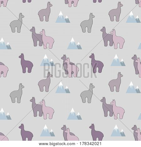 Alpaca and mountains. Stylized vector seamless pattern for design of textiles wallpapers and covers