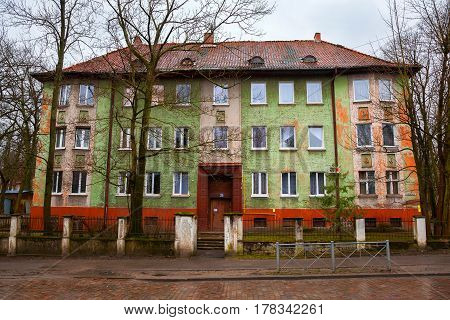 KALININGRAD, RUSSIA - MAR 20, 2017: An old residential building, the German construction in the street Dmitry Donskoy