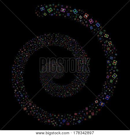 Diploma salute portal spiral. Vector bright multicolored scattered icons.