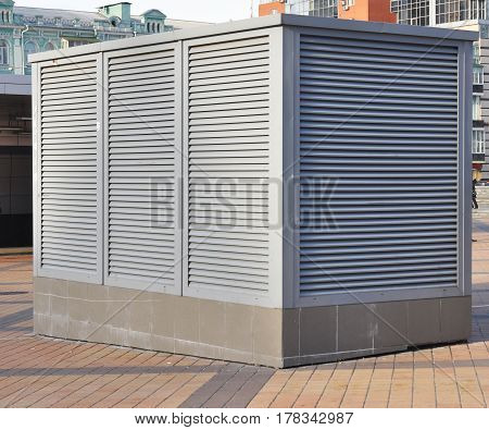 HVAC as Heating Ventilating Air Conditioning. AC-heater Outdoor. Industrial air conditioning and ventilation systems.