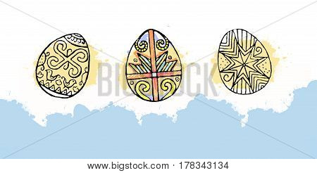 Colorful Easter eggs with beautiful color abstract pattern. Isolated on white background - graphic illustration. Ornamental Easter eggs.