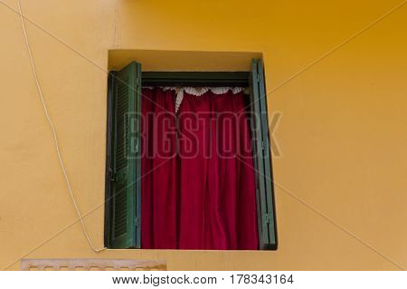 Rethymno Greece - August 5 2016: Window. The old town of Rethymnon is one of the best-preserved towns of the Renaissance.
