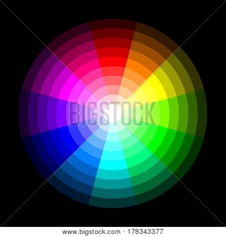 RGB color wheel from dark to light, on black background. Vector illustration