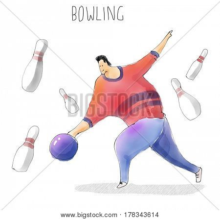 Bowling plater. Sport set. Watercolor sketch drawing illustration.