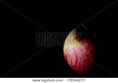 Apple with dramatic lighting on black background; partially lit with copy space