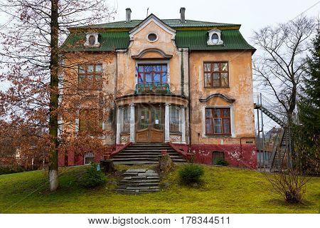 KALININGRAD, RUSSIA - MAR 20, 2017: Beautiful vintage German residential house