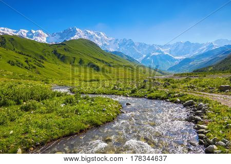 From the river shore covered with stones opens view on fantastic glacier and steep rocky mountains with green meadows which are covered with snow.Happy lifestyle.