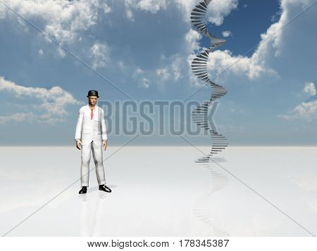 Man in white suit and bowler. Spiral stairway.   3D Rendering