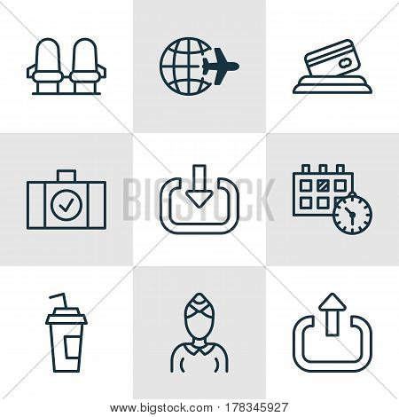 Set Of 9 Travel Icons. Includes Armchair, Luggage Scanner, Drink Cup And Other Symbols. Beautiful Design Elements.